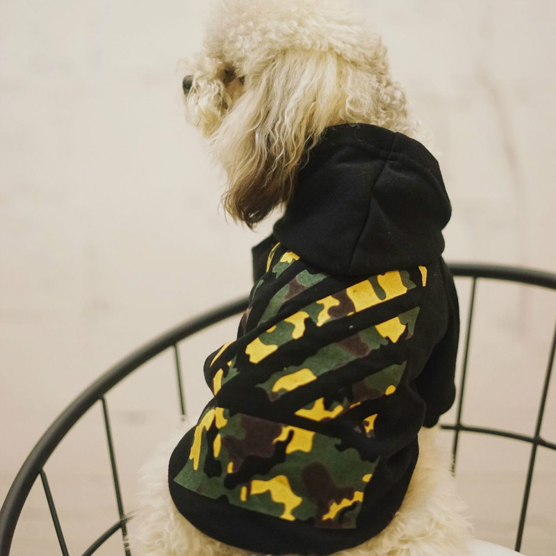 Pet clothes on the back with camouflage pattern hooded sweater tide brand coat French Bulldog dog