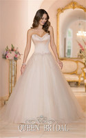 Romantic Wedding Dress Light Pink Color Strapless Princess Wedding Gowns With Beads Bride Dress For