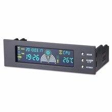 5.25 дюймов Bay Передняя Панель LCD 3 Контроллер Скорости Вентилятора ПРОЦЕССОРА Датчик Температуры Регулируемый Сигнал от 5-90 Градусов