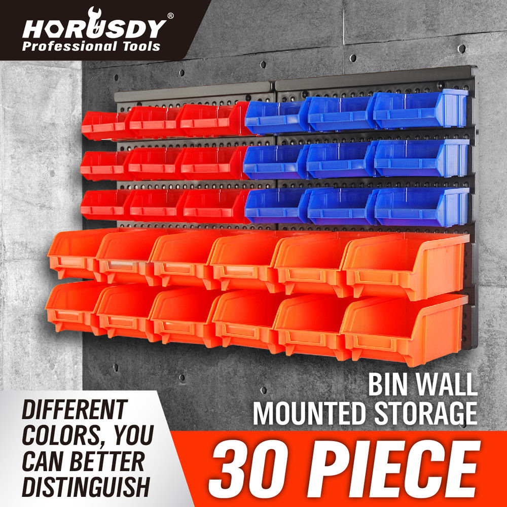wall mounted storage bins parts rack 30 bin organizer garage plastic shop tool in tool cases. Black Bedroom Furniture Sets. Home Design Ideas