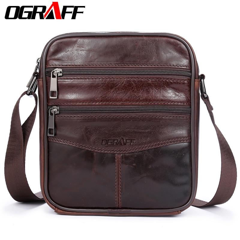 OGRAFF Famosa Marca de Cuero Genuino Hombres Bolsa Casual de Negocios de Cuero Mens Mens Messenger Bag Vintage Hombres Crossbody Bolsa bolsas masculinas