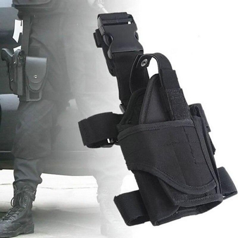 cb9fb8615 في الهواء الطلق التكتيكية الصيد الادسنس النايلون العالمي Glck M9 كولت 1911  قطرة الساق الفخذ الحافظة الحقيبة اطلاق النار مسدس بندقية الحافظات