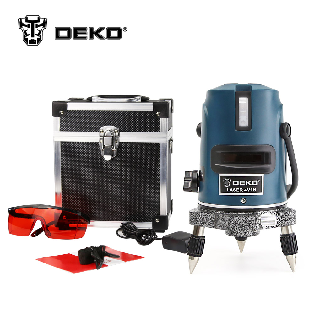 DEKOPRO 5 Lines 6 Points Laser Level 360 Vertical & Horizontal Rotary Cross Laser Line Leveling with Outdoor Mode + Glasses laser cast line instrument marking device 5 lines the laser level