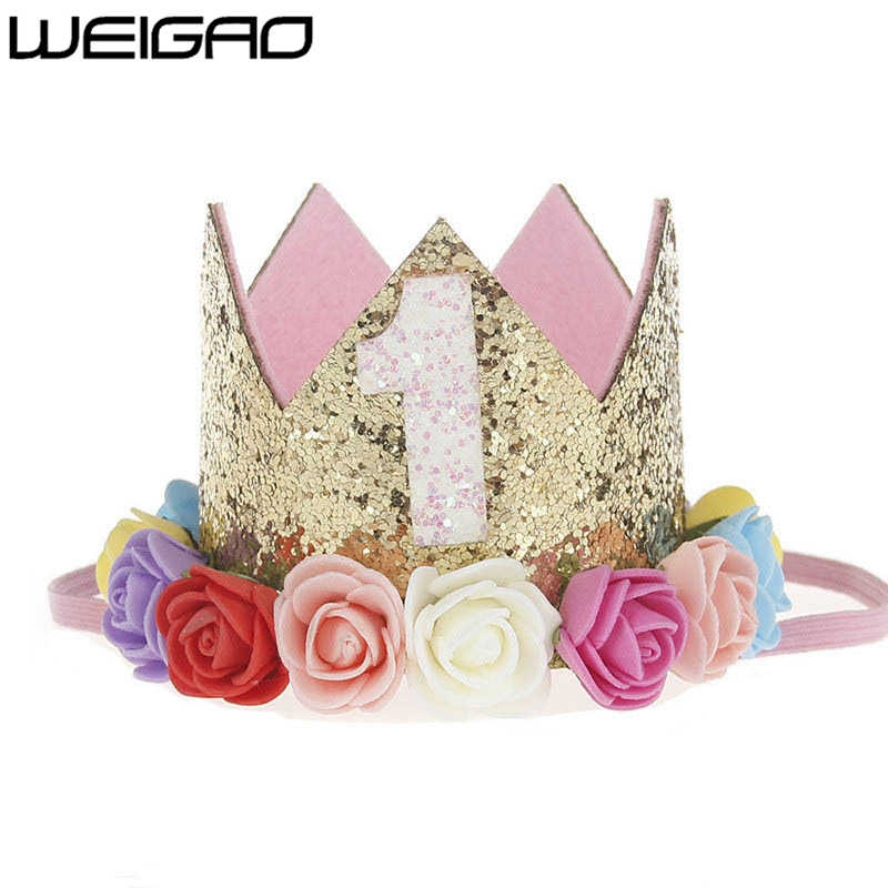 WEIGAO 1pcs 1 2 3 Birthday Caps Flower Crown 1st Birthday Hat Newborn Baby Birthday Headband 1 Year Birthday Party Decorations
