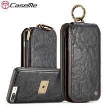 Caseme для Apple iPhone 6/6 S плюс 7 7 Plus кожаный бумажник телефон Чехлы металлическое кольцо автомобиль флип держатель Coque карты полный Чехол Сумки