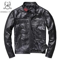 Plus Size real sheepskin genuine leather jacket men black zipper pocket stand Collar Embroidery label Motorcycle bomber jackets