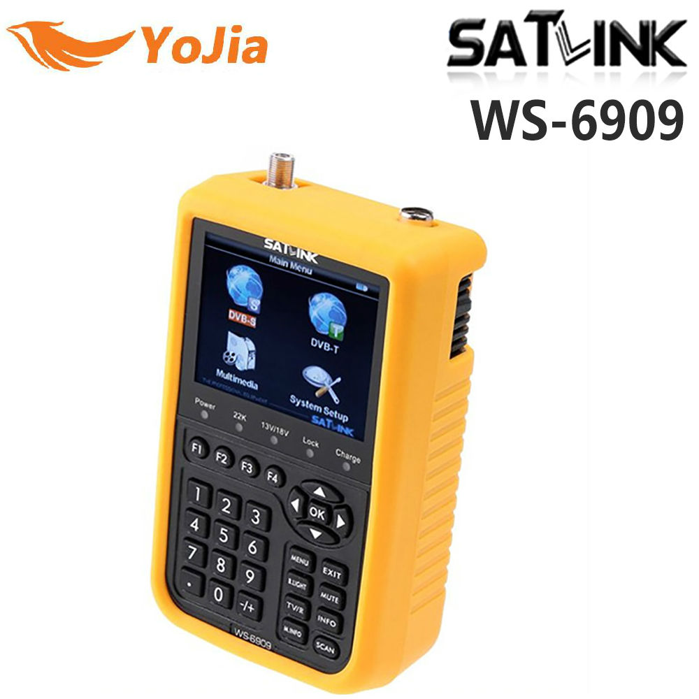 Yojia Satlink WS-6909 DVB-S & DVB-T Combo satellite meter Satlink 6909 satellite finder 3.5 LCD free shipping satlink ws 6979se dvb s2 dvb t2 mpeg4 hd combo spectrum satellite meter finder satlink ws6979se meter pk ws 6979