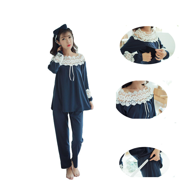 Long Sleeve Nursing Pajamas Suit Lace Maternity Sleepwear Set for Breastfeeding Woman Maternity Clothes Maternity Sleepwear цена