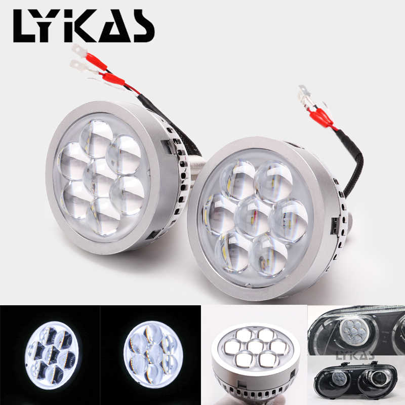 LYKAS 3 inch Led High Beam Projector Lens Headlights 6000K with White Devil Eyes for H4 H7 9005 9006 Car Headlights Retrofit