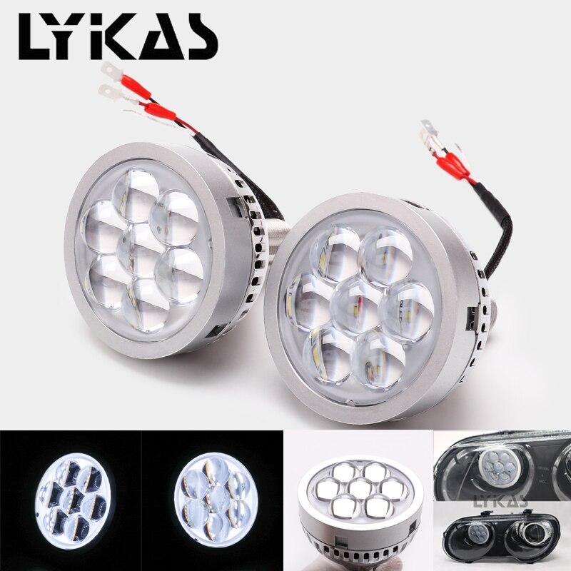 LYKAS 3 pouce Led High Beam Projecteur Lentille Phares 6000 K avec blanc Diable Yeux pour H4 H7 9005 9006 Voiture Phares Rénovation