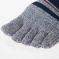 12 Par/lote Peinado de Algodón Contraste Rayado Colorido Patchwork Hombres Cinco Dedos Calcetines Calcetines Del Dedo Del Pie
