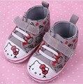 2015 новые ботинки младенца bebe детские первые ходоки новорожденных девочек весна осень мультфильм привет китти скольжения для ходьбы серый цвет
