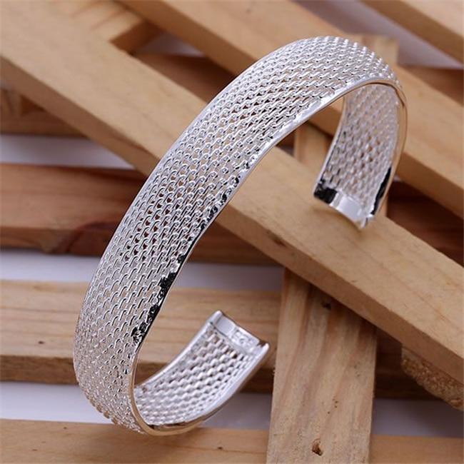 Friendly Hot Sale Silver Plated 925 Fine Jewelry,wholesale Free Shipping 925 Piercing Fashion Bangles Small Web Bracelets B102/aliajcpa Bangles