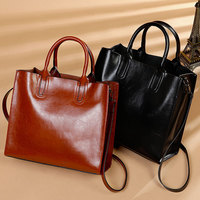 2019 New Elegant High Grade Oil Wax Cow Leather Women Totes Perfect Quality Genuine Leather Bags