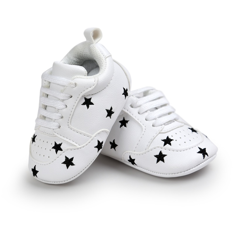 Newborn Baby Cute Spring White Printed First Walker Fashion Casual Infant Toddler Kids Anti-skid Casual Lace Up Baby Shoes