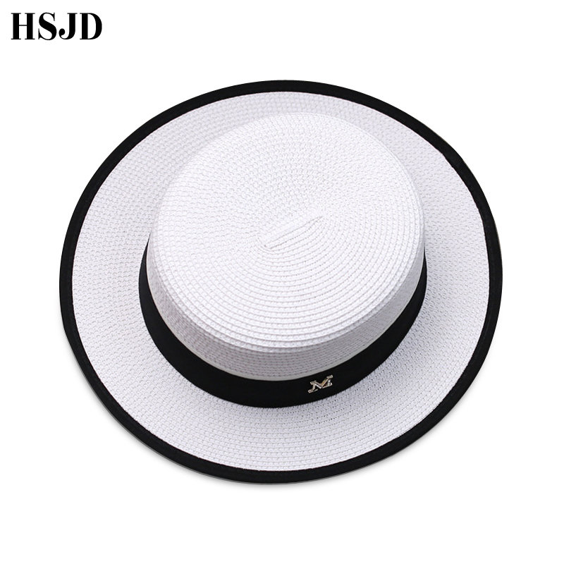 Image 4 - M Letter Ribbon Round Flat Top Straw beach hat Lady Boater sun caps M panama straw fedora women's travel Sun cap gorras-in Women's Sun Hats from Apparel Accessories