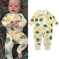 2017 Fashion Pineapple Newborn Baby Boys Girls Clothes Foot Cover Rompers Jumpsuit Pajamas Onesie Baby Costume