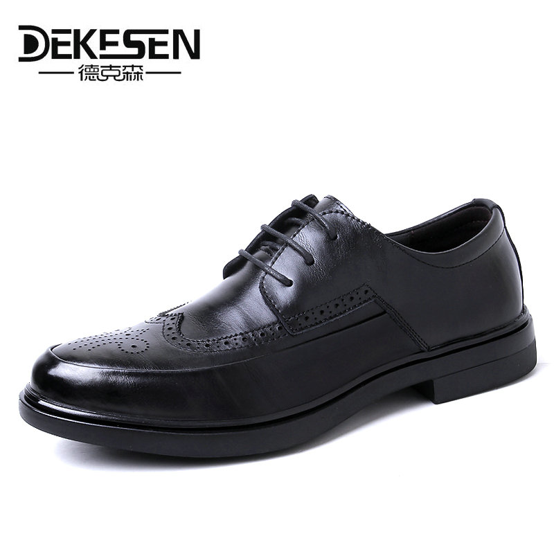 DEKESEN Hot Sale Men Leather Casual Shoes Fashion Men Brogue Shoes Carved Zapatos Hombres Vintage British Men Leather Shoes dekesen brand vintage classic 100