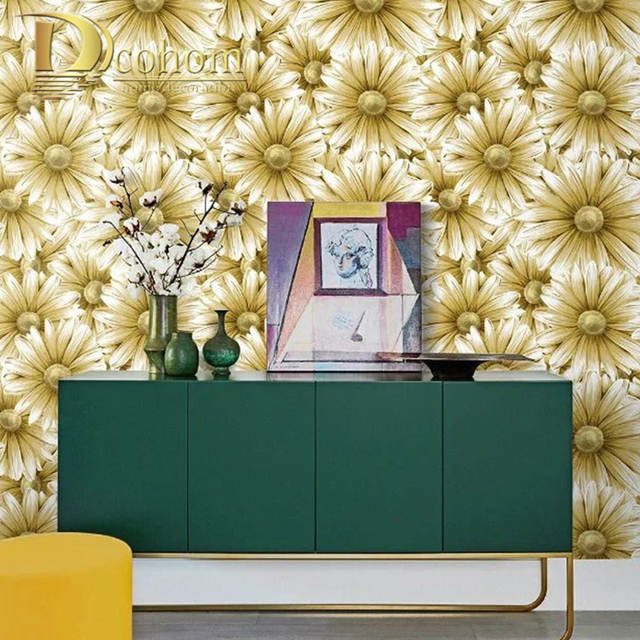 US $23.99 40% OFF|Green,Gold,Red Vintage Retro Vinyl Tropical Leaf  wallpaper for wall Bedroom Living Room Background Wall Paper Roll Home  Decor-in ...
