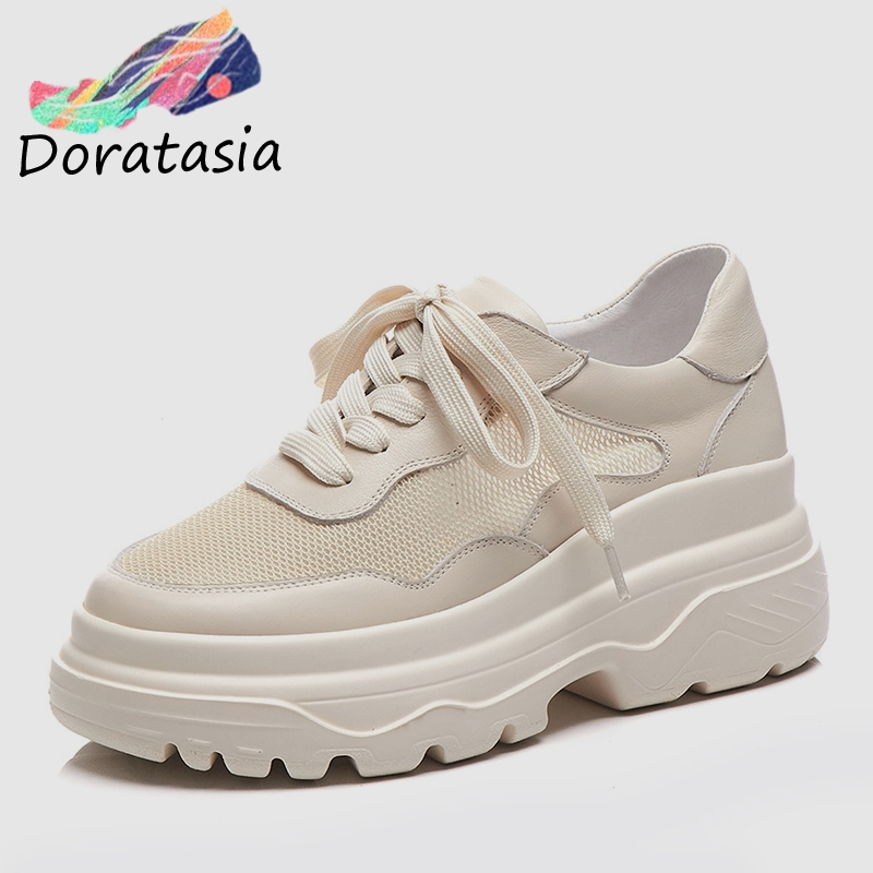 DORATASIA Brand New women s Genuine Leather Mesh Lace Up Dad Shoes Flat Platform Shoes Woman