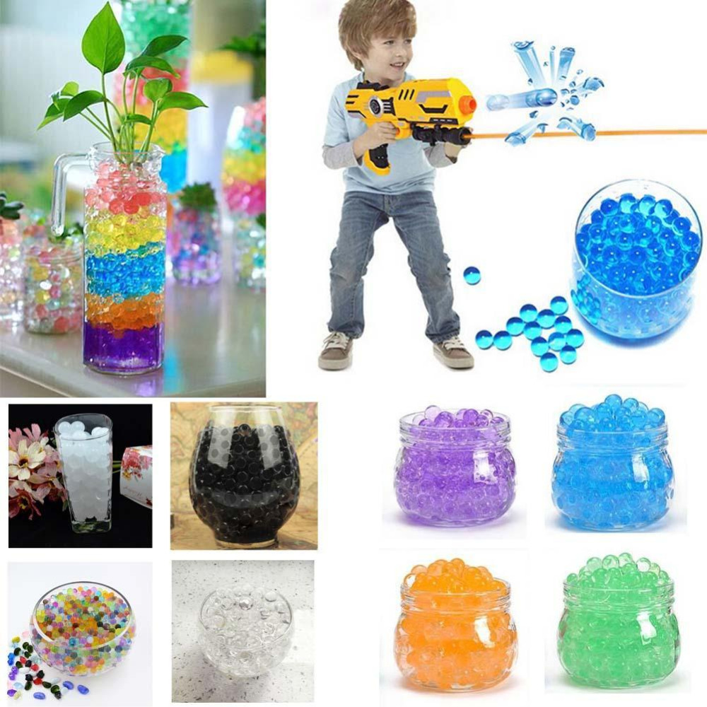1000pcs Colored Soft Crystal Water Paintball Gun Bullet Grow Water Beads Grow Balls Water Gun Toys Soil Hydrogel Gel Polymer