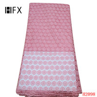 HFX Africa Lace High Quality Lace Fabric Pink Nigeria Guipure Embroidery Dress Lace Wedding Cord Lace Fabric for Women X2098