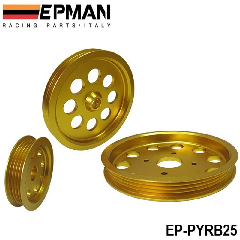 Aluminum Golden Crank Pulley Set for Nissan Skyline RB25DETS R33 R34 GT-R EP-PYRB25