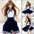 2015 uniforme escolar japonés Cosplay Anime Girl Maid marinero vestido de Lolita de rayas azul / japón chica Cosplay Costume