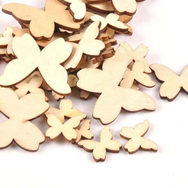 50Pcs Natural Wooden Butterfly Wood DIY ArtsScrapbooking Craft Handmade Unfinished Wooden Embellishments 15/20/30/40mm m0700
