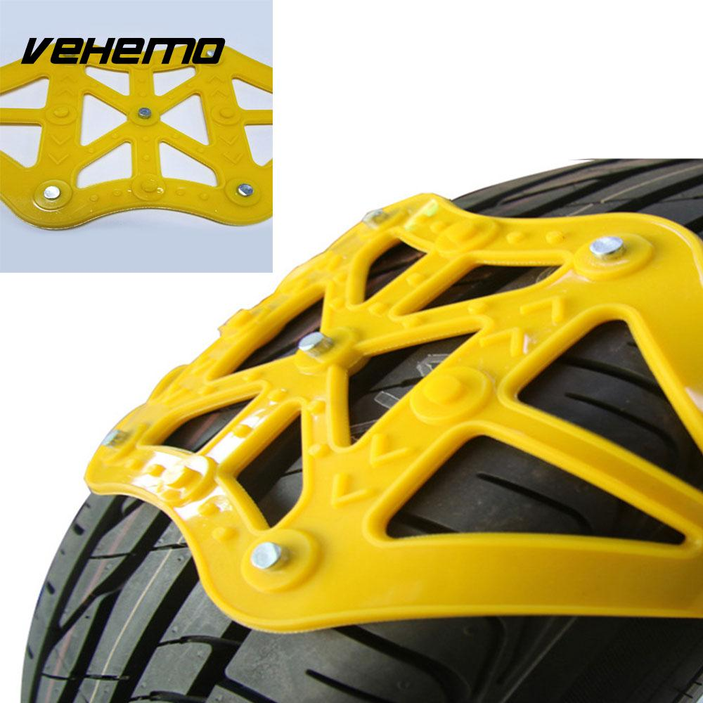 VEHEMO Yellow 1pc Truck SUV Roadway Safety Snow Tire Belt Snow Chain Emergency Anti-Skid Chains Climbing Mud Ground