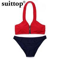 Suittop Bikini Women 2017 Summer Popular New Print Halter Solid Low Waist Women Swimwear Sexy Bikini