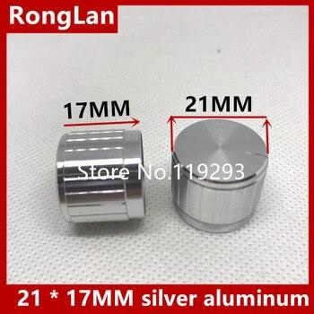 [BELLA]Top grade workmanship tangent 21 * 17MM silver aluminum shaft bore flowers potentiometer knob volume cap--100PCS/LOT