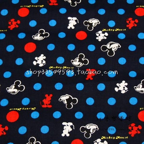 4444a40e6af2a 140X100 cm Petit Mickey Tête Bleu et Rouge Polka Dot Noir Coton Tissu Bébé  Garçon Tissu