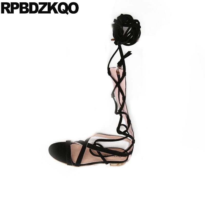 Gladiator Strappy Beige gelb Kniehohe Stiefel schwarzes Sandalen Damen Wildleder Frauen Schwarz Große Größe 11 Spitze Vintage Up Römischen Schuhe Sommer Flache Heels wHaYwq1