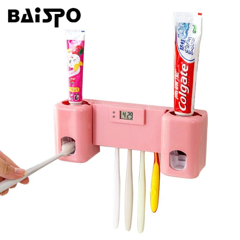 BAISPO Aksesori kamar mandi Produk Jam Dispenser Pasta Gigi Otomatis + Tempat Sikat Gigi Set Wall Mount Rack Bath Oral