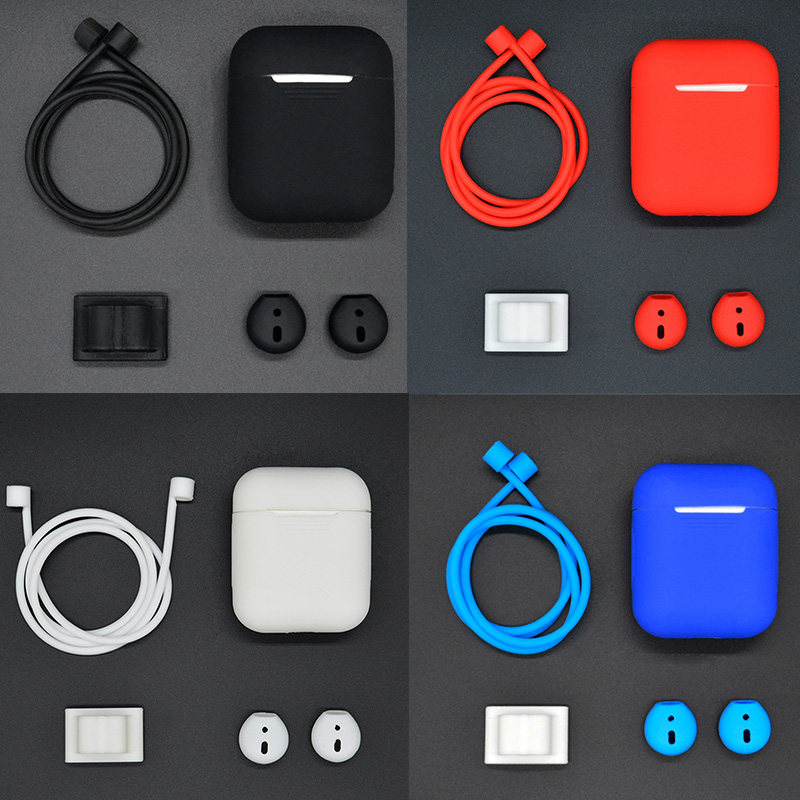 Pack of 4 Accessories Silicone Protective Skin Cover For Apple Airpods Anti Lost Strap Carabiner for AirPods Wireless Earphone
