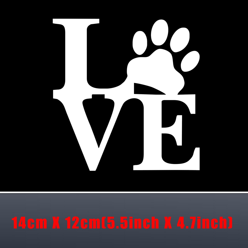 Hot Selling Love Dog Paw Print Cute Car Sticker Waterproof Car Window Decoration Special Car Murals Vinyl Car Wall Decals Y 452 in Wall Stickers from Home Garden