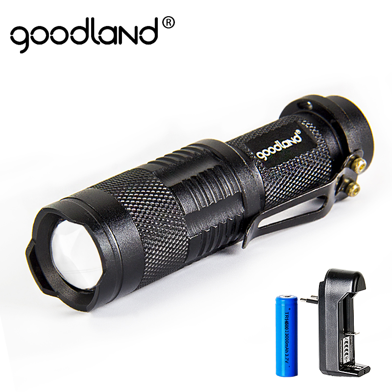 Goodland LED Senter T6 Berkemah Hitam Lanterna 5 Mode Adjustable Senter Taktis 18650 Baterai Isi Ulang LED Torch