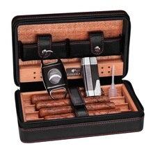 Cohiba Cigar Case Humidor Portable Cedar Wood Leather Travel Humidor Humidifier Set Gift Box HH-1040 cohiba cigar case humidor portable cedar wood leather travel humidor humidifier set gift box hh 1040
