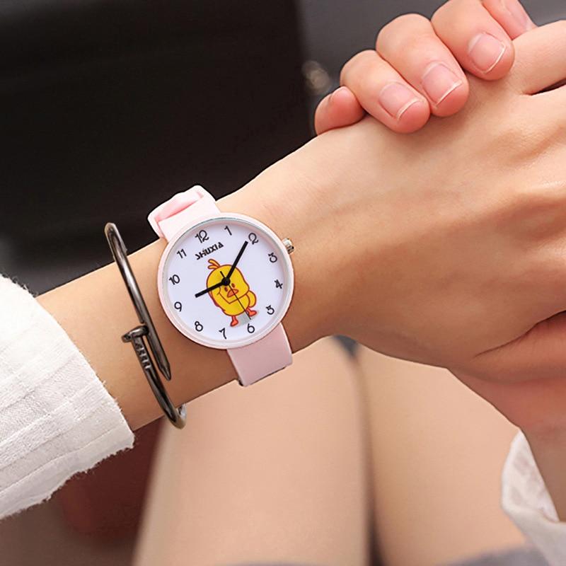 Duck Schoolgirl Tide Middle School Student Woman Surface Waterproof Teenagers Girl Student Silica Gel Electronics Quartz Watch