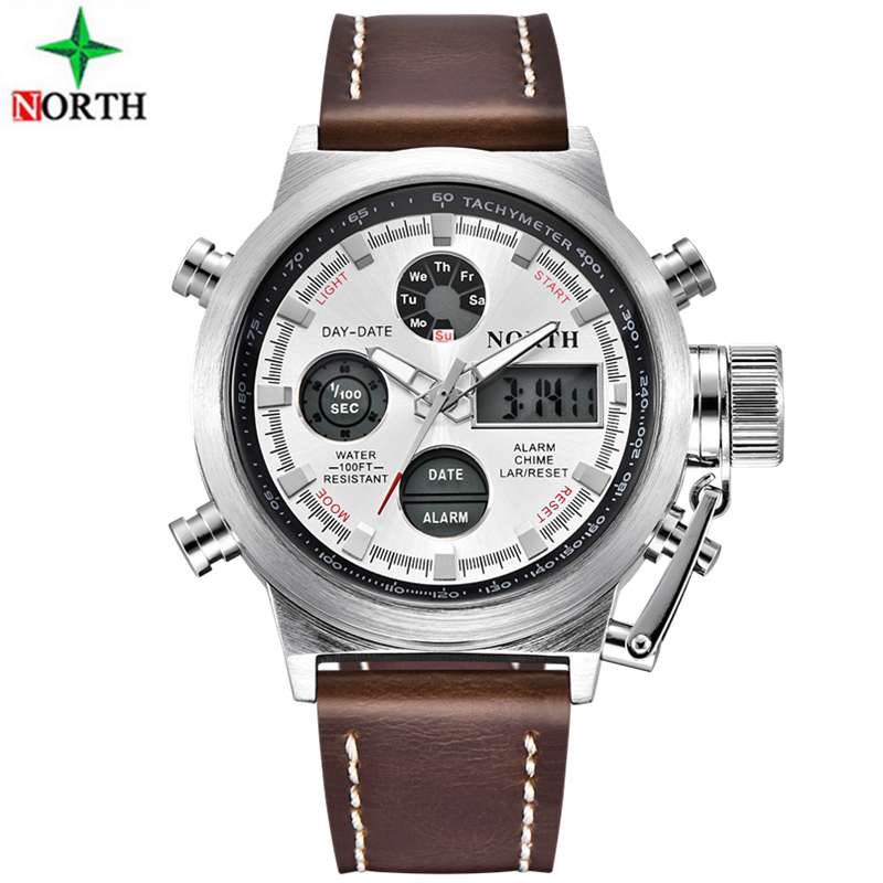 Casual North Military Klockor LED Klockor Män Top Märke Luxury Quartz Watch Nylon & Läder Rem Reloj Hombre Relogio Masculino