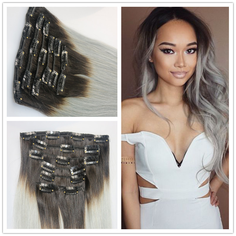 ombre grey clip in human hair extension