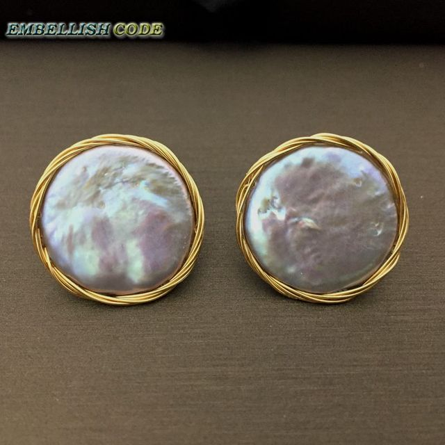 2018 NEW Design Hand made winding gray colorful Baroque pearl golden color flat