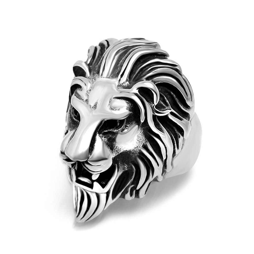 Fashion Trend Of Titanium Steel Jewelry Jewelry Alternative Lion Head Animal Ring Burst Models