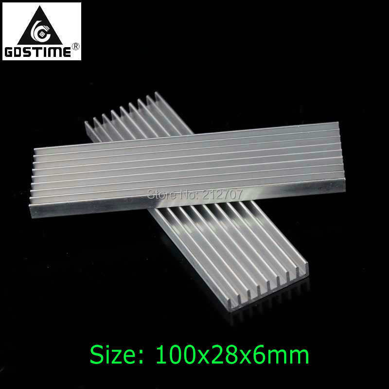 50Pcs Gdstime 100x28x6mm DIY Heatsink Aluminum Radiator 100mm For LED Cooling