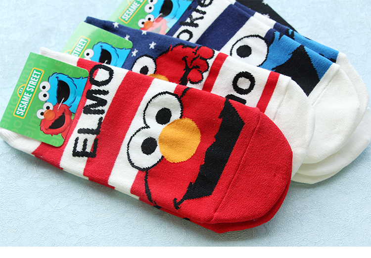 US $1 33 67% OFF|Sesame Street cartoon cosplay socks Elmo Cookie Monster  fashion novelty funny cute women sock autumn comfortable cotton socks-in