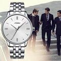 Negocio SINOBI Relojes de Pulsera de Acero de Plata Para Hombre Relojes Masculinos Reloj de Cuarzo de Ginebra 2016 Dress Casual Reloj reloj de Vestir de Cuarzo