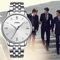 SINOBI Relógios de Pulso de Aço de Prata Dos Homens de Negócios Relógios de Genebra Relógio De Quartzo 2016 Relógio Vestido Ocasional Roupa Masculina De Quartzo-relógio