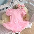 2 unids por juego mameluco infantil del cordón Pink Ruffle recorte Color sólido chicas Bowtie bebé Tutu vestido con banda para 0-12months envío gratis