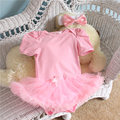 2PCs per Set Infant Lace Romper Pink Ruffle Trim Solid Color Bowtie Baby Girls Tutu Dress Headband for 0-12months Free Shipping